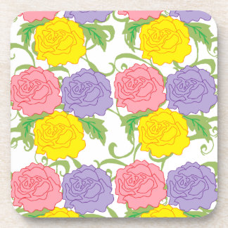 Colorful Roses and Vines Coaster