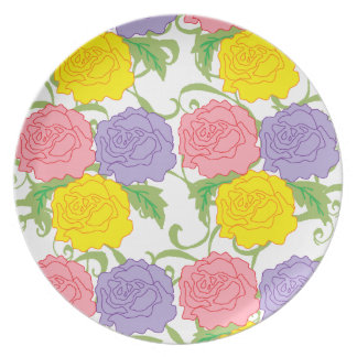 Colorful Roses and Vines Dinner Plate