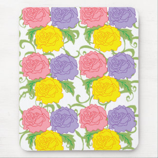 Colorful Roses and Vines Mouse Pad