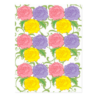 Colorful Roses and Vines Postcard