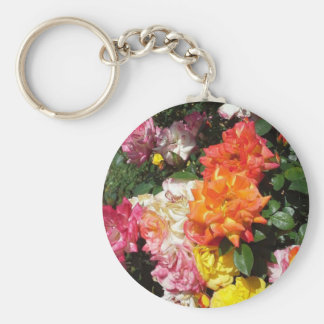 Colorful Roses Basic Round Button Keychain