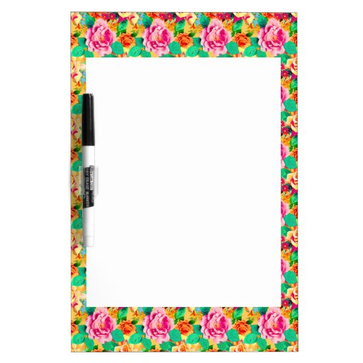 Colorful Roses Dry Erase White Board