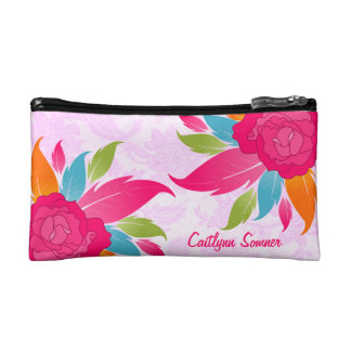 Colorful Roses Floral Personalized Makeup Bags