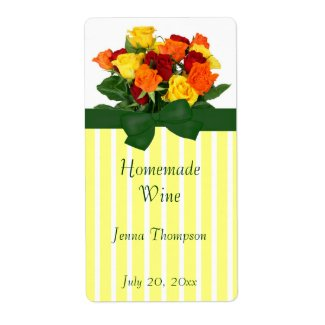 Colorful Roses Homemade Wine Label label