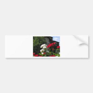 Colorful roses in castle's garden bumper sticker