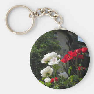 Colorful roses in castle's garden keychain