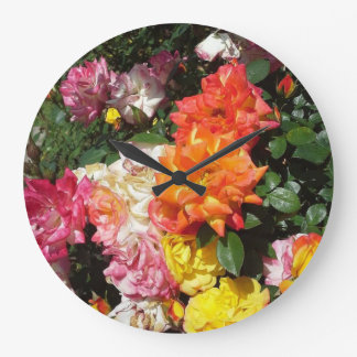 Colorful Roses Large Clock