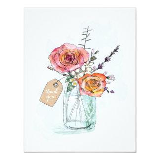 Colorful Roses Mason Jar Thank You Flat Card