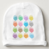 Colorful roses pattern baby beanie