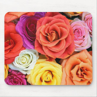 Colorful Roses Pattern Mouse Pad