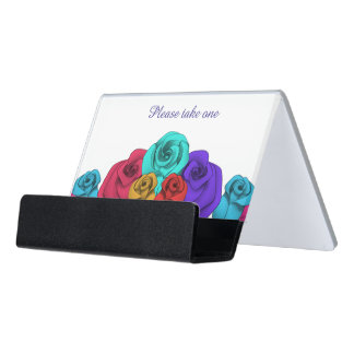 Colorful roses personalized desk business card holder