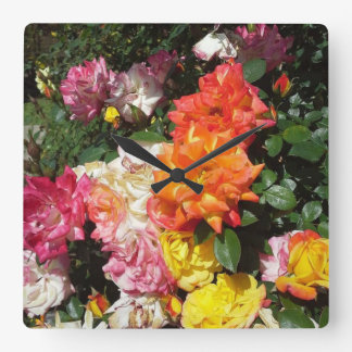 Colorful Roses Square Wall Clock