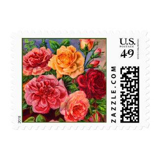 Colorful Roses Vintage Floral Postage