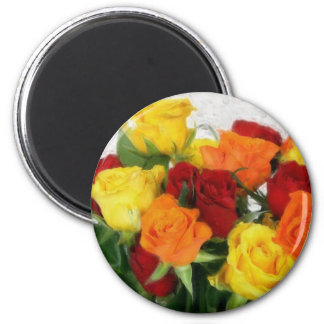 Colorful Roses Watercolor 2 Inch Round Magnet