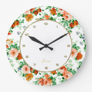 Colorful Roses White Background Large Clock