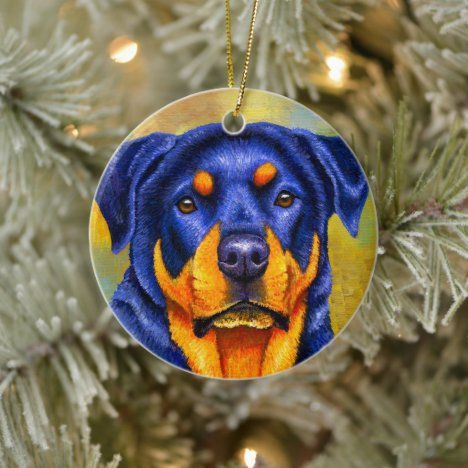 Colorful Rottweiler Dog Ceramic Ornament