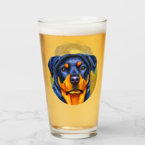 Colorful Rottweiler Dog Drinking Glass Cup