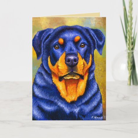 Colorful Rottweiler Dog Greeting Card