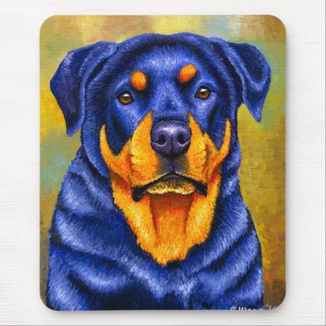 Colorful Rottweiler Dog Mouse Pad
