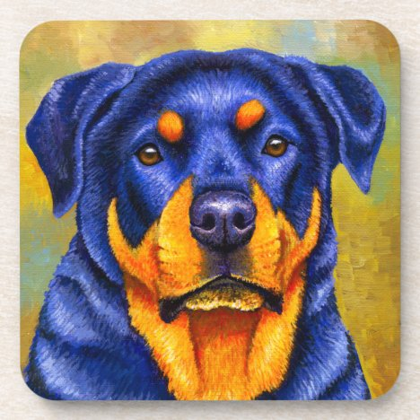 Colorful Rottweiler Dog Plastic Coasters