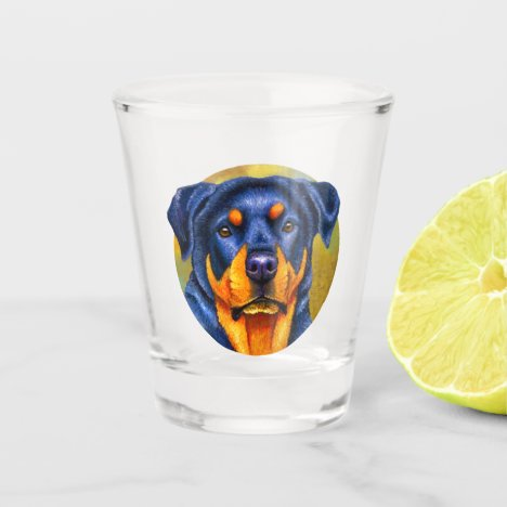 Colorful Rottweiler Dog Shot Glass