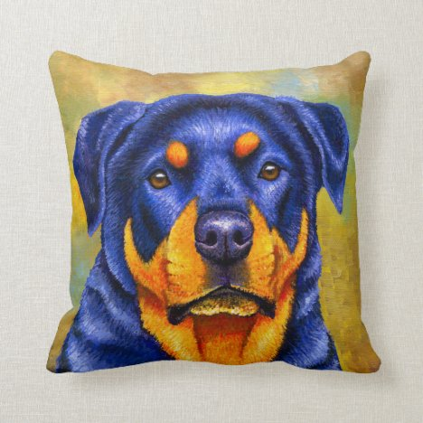 Colorful Rottweiler Dog Throw Pillow