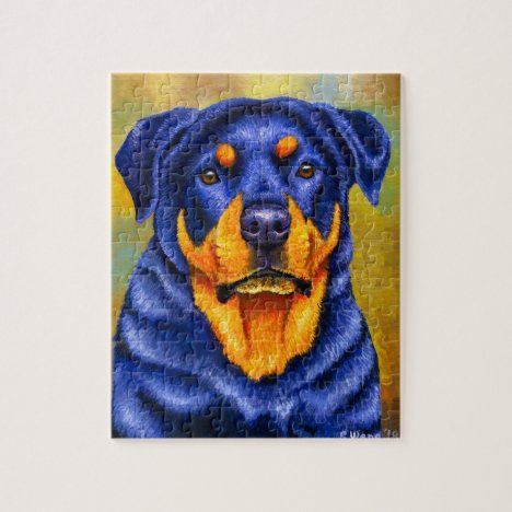 Colorful Rottweiler Rottie Dog Jigsaw Puzzle
