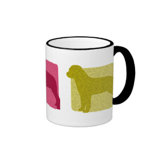 Colorful Rottweiler Silhouettes Ringer Mug