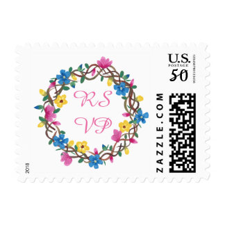 Colorful Round Flowers Wreathe RSVP Stamps