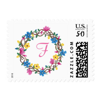Colorful Round Frame Flowers Monogram Stamps