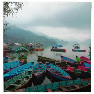 Colorful Row Boats on Phewa Lake in Pokhara Nepal Napkin