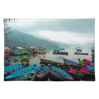 Colorful Row Boats on Phewa Lake in Pokhara Nepal Cloth Place Mat