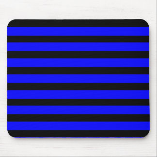 Colorful Royal Blue and Black Striped Pattern Mouse Pad