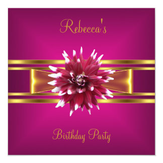Colorful Royal Pink White Flower Yellow Gold Bow 2 Card