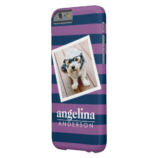 Colorful Rugby Stripes with Custom Name and Photo Barely There iPhone 6 Case