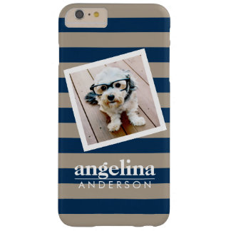 Colorful Rugby Stripes with Custom Name and Photo Barely There iPhone 6 Plus Case
