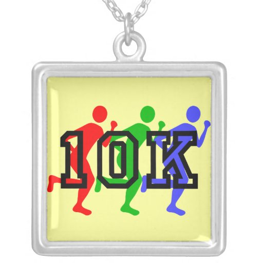 Colorful runners 10K Square Pendant Necklace