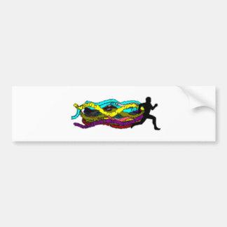 Colorful Running Bumper Sticker
