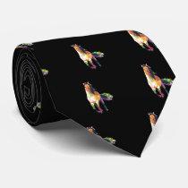 Colorful Running Horse Stallion Equestrian Neck Tie