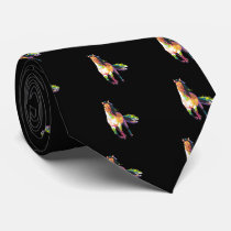 Colorful Running Horse Stallion Equestrian Neck Tie