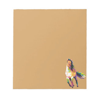 Colorful Running Horse Stallion Equestrian Notepad
