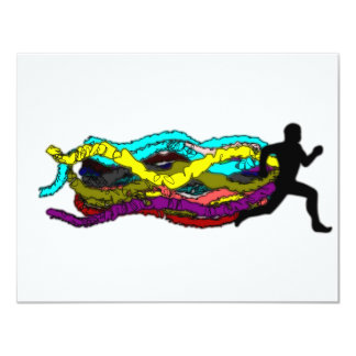 Colorful Running 4.25x5.5 Paper Invitation Card