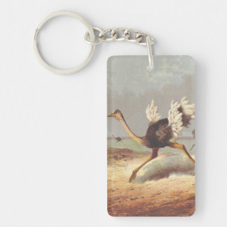 Colorful running ostrich illustration keychain