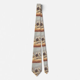 Colorful running ostrich illustration tie