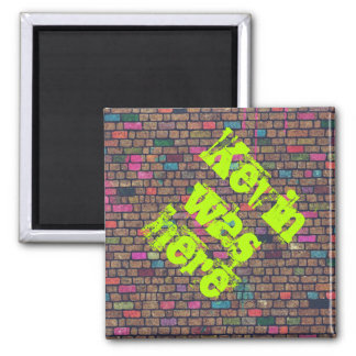 Colorful Rustic Brick Wall Texture 2 Inch Square Magnet