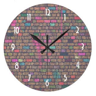 Colorful Rustic Brick Wall Texture Large Clock