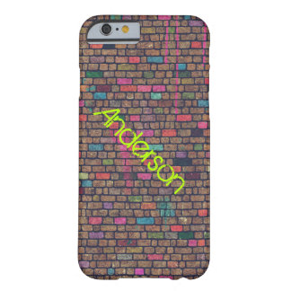 Colorful Rustic Brick Wall Texture Personalized Barely There iPhone 6 Case