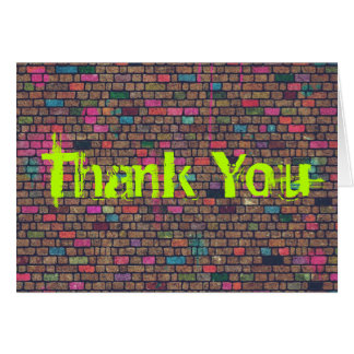 Colorful Rustic Brick Wall Texture Thank You Card