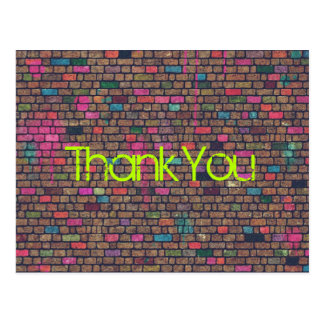 Colorful Rustic Brick Wall Texture Thank You Postcard