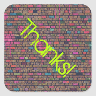 Colorful Rustic Brick Wall Texture Thanks Square Sticker